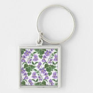 Pretty Mauve Violets Floral Square Keychain