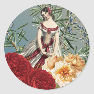 Pretty Medieval Girl with Roses Classic Round Sticker