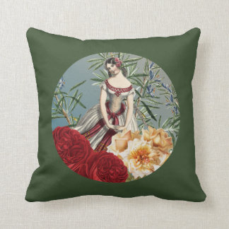Pretty Medieval Girl with Roses Throw Pillow