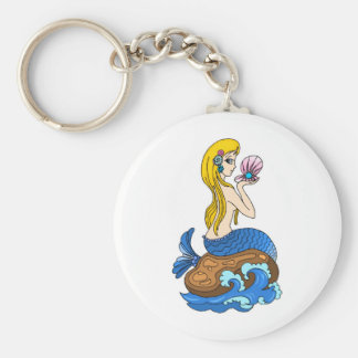 pretty mermad, loveing, beautiful, wonderful. basic round button keychain