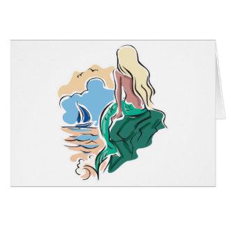 pretty mermaid sitting on rock card