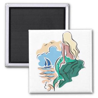 pretty mermaid sitting on rock fridge magnets