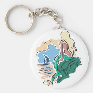 pretty mermaid sitting on rock keychain