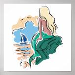 pretty mermaid sitting on rock poster