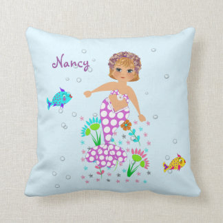 Pretty Mermaid Themed Personalized Design Throw Pillow