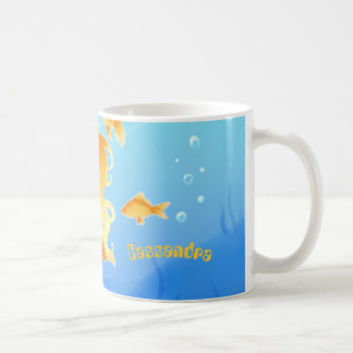 Pretty Mermaid with goldfish under water Coffee Mug