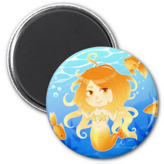 Pretty Mermaid with goldfish under water Magnet