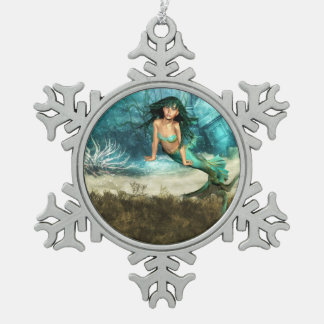 Pretty Mermaids Snowflake Pewter Christmas Ornament