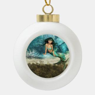 Pretty Mermaids Ceramic Ball Christmas Ornament