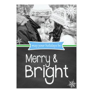 Pretty Merry Bright Chalkboard Holiday Flat Card