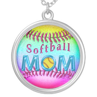 Pretty Metallic Multicolored Softball MOM Necklace