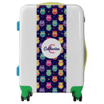 Pretty Midnight Blue Owl Pattern Tween Teen Kids Luggage