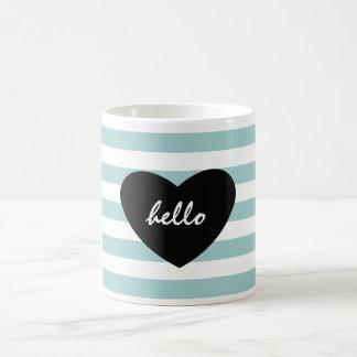 Pretty Mint and White Stripes Hello Heart Coffee Mug