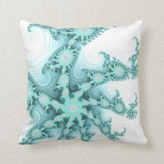 Pretty Mint Green and White Fractal Abstract Throw Pillow