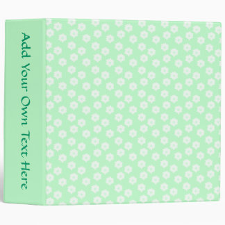 Pretty Mint Green Floral Pattern. Binder