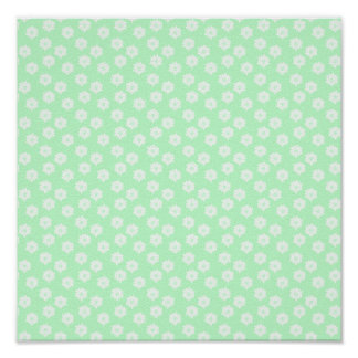 Pretty Mint Green Floral Pattern. Poster