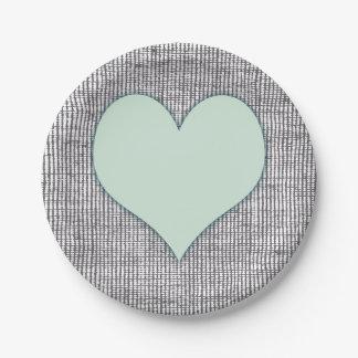 Pretty Mint Green Heart Garden Paper Plate