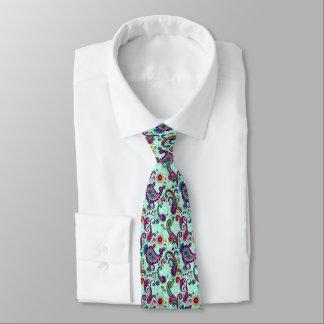 Pretty Mint Pink Paisley Bohemian Pattern Tie