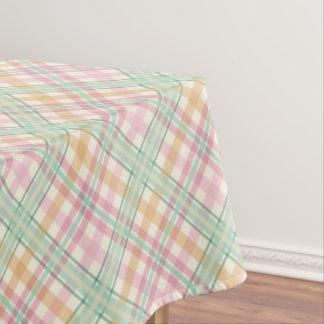 Pretty Mint Pink Pastels Tartan Plaid Tablecloth
