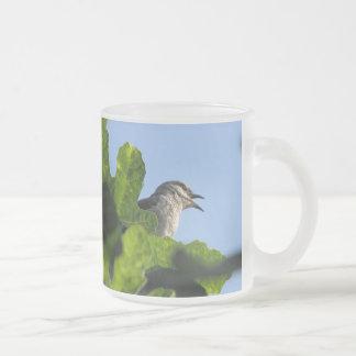 Pretty Mockingbird Frosted Glass Coffee Mug