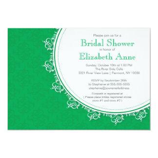 Pretty Modern Emerald Green Damask Bridal Shower 5x7 Paper Invitation Card