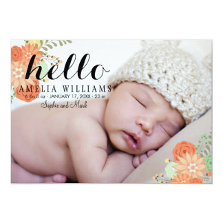 Pretty Modern Floral Hello Birth Announcement 2