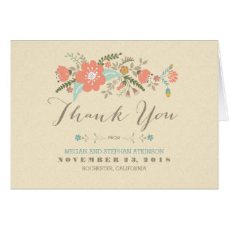 Pretty modern flowers handwritten thank you card