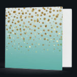 """Pretty modern girly faux gold glitter confetti 3 ring binder<br><div class=""""desc"""">Pretty modern girly faux gold glitter confetti ombre illustration, yellow gold shining, glow faux glitter, gradient shades of blue, teal, peacock blue, white, falling sparkle dots, festive, celebration, party, decorative, metallic, light, trendy, chic, whimsical, romantic, beautiful, girly, glamorous, unique, fashion, , vibrant trendy colors, popular, cute, modern, artistic, adorable, sweet,...</div>"""