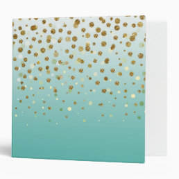 Pretty modern girly faux gold glitter confetti 3 ring binder
