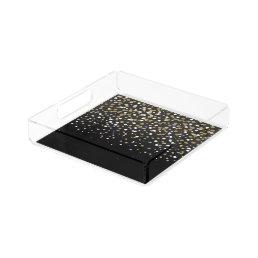 Pretty modern girly faux gold glitter confetti acrylic tray