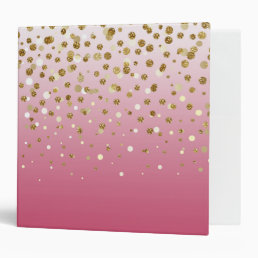 Pretty modern girly faux gold glitter confetti binder