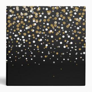 Pretty modern girly faux gold glitter confetti binder