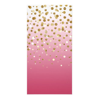 Pretty modern girly faux gold glitter confetti card