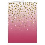 Pretty modern girly faux gold glitter confetti card