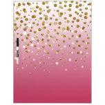 Pretty modern girly faux gold glitter confetti dry erase board