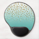Pretty modern girly faux gold glitter confetti gel mouse pad<br><div class='desc'>Pretty modern girly faux gold glitter confetti ombre illustration, yellow gold shining, glow faux glitter, gradient shades of blue, teal, peacock blue, white, falling sparkle dots, festive, celebration, party, decorative, metallic, light, trendy, chic, whimsical, romantic, beautiful, girly, glamorous, unique, fashion, , vibrant trendy colors, popular, cute, modern, artistic, adorable, sweet,...</div>