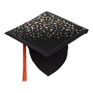 Pretty modern girly faux gold glitter confetti graduation cap topper
