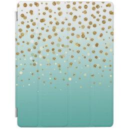 Pretty modern girly faux gold glitter confetti iPad smart cover