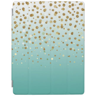 Pretty modern girly faux gold glitter confetti iPad smart cover