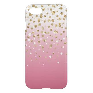 Pretty modern girly faux gold glitter confetti iPhone 8/7 case