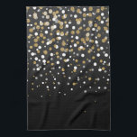 "Pretty modern girly faux gold glitter confetti kitchen towel<br><div class=""desc"">Pretty modern girly faux gold glitter confetti ombre illustration, yellow gold shining, glow faux glitter, gradient shades of grey, black, white, falling sparkle dots, festive, celebration, party, decorative, metallic, light, trendy, chic, whimsical, romantic, beautiful, girly, glamorous, unique, fashion, vibrant trendy colors, popular, cute, modern, artistic, adorable, sweet, stylish, shabby chic,...</div>"
