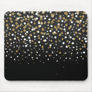 Pretty modern girly faux gold glitter confetti mouse pad
