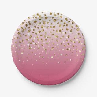 Pretty Modern Girly Faux Gold Glitter Confetti Paper Plate at Zazzle