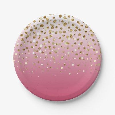 sc 1 st  Zazzle & Pink White \u0026 Gold 1ST BIRTHDAY Party Paper Plates | Zazzle.com