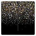 Pretty modern girly faux gold glitter confetti square wall clock