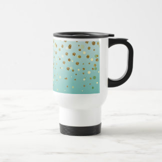 Pretty modern girly faux gold glitter confetti travel mug