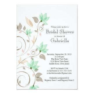 "Pretty Modern Mint Green Floral Vine Bridal Shower 5"" X 7"" Invitation Card"