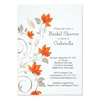 Pretty Modern Orange Floral Vine Bridal Shower 5x7 Paper Invitation Card