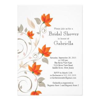 Pretty Modern Orange Floral Vine Bridal Shower Personalized Invitation