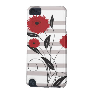 Pretty Modern Red Black and Gray Floral iPod Touch (5th Generation) Cover